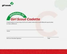 Bridge To Cadette Girl Scout Certificate